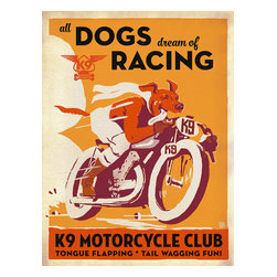 Anderson Design Group - Animal Lovers Collection: K9 Motorcycle Club Gallery Print - Our new K-9 Kollector prints are so doggone swanky. This parody of a vintage French poster takes tongue-wagging to a whole new level. Printed on gallery-grade paper, this design will beautify any home or office wall for years to come! Pamper your pooch (and yourself) by decorating with happy art. You will both wag more and bark less. Original, hand-illustrated design from Anderson Design Group in Nashville, TN.