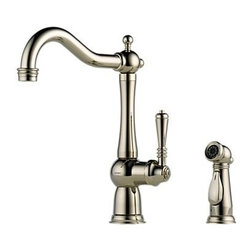 "Brizo - Brizo 61136LF-PN Brilliance Polished Nickel Tresa Tresa Kitchen Faucet - Tresa Low Lead Compliant Single Handle Kitchen Faucet with Side Spray Traditional yet timeless styling bridges the past and present. Faucet Features:  Solid brass fabricated body 13-3/16"" (335 mm) high, 9"" (229 mm) long, spout swings 360 degrees Lever handle. Control mechanism shall be full-motion valve cartridge Thin deck mounting aid to help secure product if used on thin sinks Matching side sprayer available Features Euro-Motion diamond valve-diamond embedded ceramic disc One-piece Innoflex  waterways  Faucet Specifications:  ADA Compliant: Yes Low Lead Compliant: Yes Overall Height: 13.1875"" Width: 4.75"" Max Deck Thickness: 3"" Spout Height: 9.66"" Spout Reach: 9"" Spout Swivel: 360 Degrees Spout Type: Swivel Product Weight: 12.380 lbs. Faucet Centers: 0 Faucet Holes: 2 Filtering: No Flow Rate (GPM): 2.2 Number Of Handles: 1 Handle Style: Metal Lever Handles Included: Yes Escutcheon Included: No Pre Rinse: No Pullout Spray: No Sidespray Included: Yes Soap Dispenser Included: No Installation Type: Deck Mounted Valve Type: Ceramic Disc  Brizo Faucet Technologies  ADA Compliant: Some people, and some local codes, require fixtures that are compliant with the Americans with Disabilities Act. Water Efficient Product meeting CALGreen standards:  Kitchen Faucets: Flow Rate of 1.8 gpm or 1.5 gpm versus Industry Standard ASME.A112.18.1/CSA.B125.1 of 2.2 gpm. Lavatory Faucets: Flow Rate of 1.5 gpm versus Industry Standard ASME.A112.18.1/CSA.B125.1 of 2.5 gpm. Showerhea"