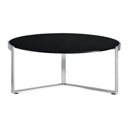 Modway Furniture - Modway Disk Coffee Table in Black - Coffee Table in Black belongs to Disk Collection by Modway Quite often we observe tables that serve very specific functions. An environment that works for one, many times does not at all work for another. Such is not the case with the Disk modern side table. The piece was designed to elegantly straddle both extremes; from a rustic log cabin in the woods, to the penthouse of a metropolitan skyrise. Topped with a thick tempered glass surface, and fashioned with a polished stainless steel base, spin your way to definitive decor no matter what the setting. Set Includes: One - Disk Modern Side Table Coffee Table (1)