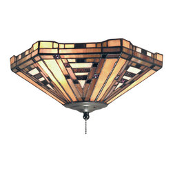 Elk Lighting - American Art 2-Light Ceiling Mount In Classic Bronze - This collection marries mission styling with art deco hardware. The classic bronze (cb) finish underscores earthy hues of honey, taupe, and olive.