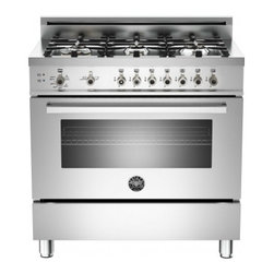 """Bertazzoni - Professional PRO366GASX 36"""" Natural Gas Range With 6 Brass Burners  18 000 BTUs - The wide-format range has a cooktop with six burners including a dual-ring power burner high-efficiency burner with separately controlled flames The oven with gas broiler has a balanced air-flow convection fan to provide even heat distribution for si..."""