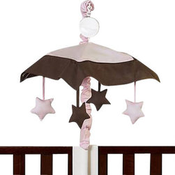 Sweet Jojo Designs - Hotel Pink Mobile - The Hotel Pink Mobile by Sweet Jojo Designs will have you putting your baby to sleep in style. When wound up this crib mobile spins and plays Brahms' lullaby. This musical crib mobile has been manufactured to fit standard sized cribs. The mobile set includes a musical mobile frame, canopy with hanging toys, and matching arm sleeve cover. Please note:The plastic clamp fits standard rails up to 2 3/4 in. wide. Non-standard crib rails may be wider than 2 3/4 in. and may not work with these mobile frames.