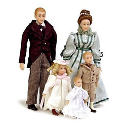 Drummond Victorian Family of 5 Dollhouse Miniature Set - Elegant and old-fashioned, the Drummond Victorian Family of 5 Dollhouse Miniature Set will make the perfect inhabitants for your traditional-style dollhouse. Based on a 1:12 scale, this stately family is dressed to the nines. They'll complement your regal décor beautifully. The set includes the father, Robert Drummond, his wife, Dorothea, their two children, Nicholas and Sophie, and the baby, Ellie. Charming and realistic, the entire family is crafted from durable polyresin; they have blond or brown hair and pale complexions and are clad in artfully made fabric clothing. These friendly faces are suitable for use in collector dollhouses. As this set includes small pieces, it's not recommended for children under 13.