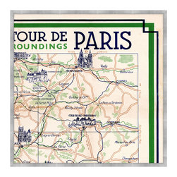 Plan Guide Monuments de Paris C Framed Giclee - Evocative of a Paris sojourn, when traversing narrow pathways led to bijou bistros and well-traveled roads pointed toward majestic monuments. In vivid green and deep navy blue, the Plan Guide Monuments de Paris C illustrates, in classic style, a component of an intricate map detailing the intoxicating attractions of the City of Light and its surroundings, including Chateau Thierry and Soissons. An exceptional addition to a grand library, great room, or French-inspired kitchen.