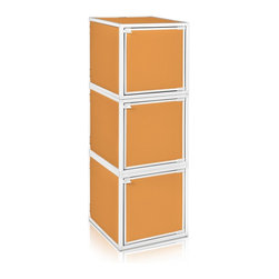 Way Basics - Way Basics 3 Box Storage Cube Stackable, Orange - Box will easily stack, connect and align to create your perfect organizer! Form a 3-tiered nightstand or a side by side double cubby and accessorize with a door to hide that inevitable clutter. The simple, modern design of the Bo will complement and adorn any room.