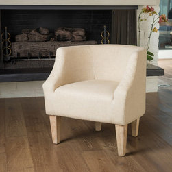Christopher Knight Home - Christopher Knight Home Baley Dark Beige Fabric Club Chair - The Baley club chair is a modern twist on the classic club chair. Upholstered in dark beige fabric,it features a rounded backrest that contours the body and stands on birch wood legs.