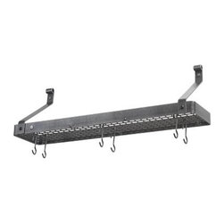 "Enclume Narrow Shelf Pot Rack, Hammered Steel - This handsome wall-mounted rack is fashioned from hammered steel with a waxed finish.  It will provide storage for more than just your pots and pans.  Use the shelf for cookbooks or kitchen accessories. 36"" x 9"" x 13 1/2"" high overall."