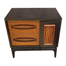 Pre-owned Vintage Walnut and Ebony Lacquer Cabinets - A Pair - This handsome pair of vintage Danish Modern teak chests will look great used as side tables in the living room or as nightstands in the bedroom. They feature ebony stained frames with 2 teak drawers and a black/teak door front