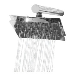 """N/A - Modern Mosaic Time Square Shower Head w/Arm - Time Square Shower Rain Head with 16"""" Shower Arm w/ 51 Shower Jets."""