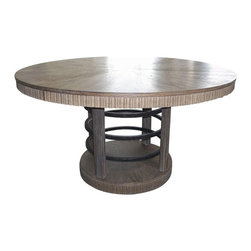 A.R.T. Furniture - A.R.T. Furniture Ventura Round Wood Top Hoop Pedestal 56 in. Dining Table - Weat - Shop for Dining Tables from Hayneedle.com! West coast rustic is the style but the A.R.T. Furniture Ventura Round Wood Top Hoop Pedestal 56 in. Dining Table Weathered Chestnut is equally at home in transitional and modern interiors. This visually striking design is crafted from radiata hardwood solids and starburst-patterned white oak veneers over a base featuring aged iron accents.About A.R.T. FurnitureFounded in 2003 A.R.T. Furniture creates beautiful high-quality furniture inspired by architecture and design. Their sophisticated aesthetic draws upon the best of traditional European furniture designs as well as rustic coastal and transitional styles. A.R.T. Furniture is known for its themed collections that reinvent classic forms for the needs of contemporary home decorators. Their dining room bedroom entertainment and living room furnishings are constructed from sustainably forested hardwoods and veneers. A.R.T. Furniture is distinguished by its superior craftsmanship and attention to detail taking the extra step in the manufacturing process to ensure quality beauty and durability for its customers.