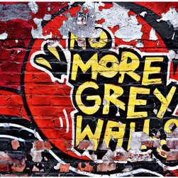 No More Grey Walls Wall Mural - The name says it all!  Hang this colorful graffiti-inspired mural and in an instant - No more grey walls!