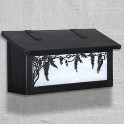 Wisteria Horizontal Wall Mounted Mailbox - The beautiful flower of the Wisteria hangs gracefully down from the vines above on this exclusive design from America's Finest. Select one of our many hand applied patina finishes and complete the design with the iridescent glass to create the sky. Handmade of solid brass it has a traditional hinge detail on the lid and a rubber bumper inside to eliminate any noise when closing. The corner rivets complete the design and give this mailbox it's handcrafted look. Easy to mount and a wonderful addition to your front entry this Wisteria mailbox design will be a delight for years to come. As with all America's Finest products it carries our lifetime warranty.