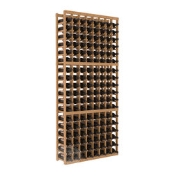 8 Column Standard Cellar Kit in Pine with Oak Stain + Satin Finish - Wooden wine storage available in pine or redwood plus many stain and finish options. The best rack for an intermediate collector. This rack stores up to 12 cases of wine in 18 bottle columns. You'll love it. We guarantee it.