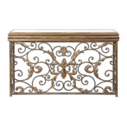 Uttermost - Valonia Embossed Metal Console Table - This console table is made of hand forged and hand embossed metal with an antiqued mirror top. Finish consists of heavily antiqued gold leaf and distressed chestnut brown with black speckling. Bulbs Included: No