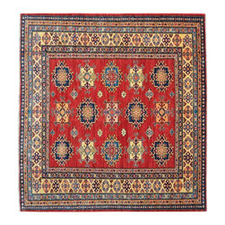1800 Get A Rug - Square Red Super Kazak Hand Knotted 100% Wool Tribal Oriental Rug Sh15296 - Our Tribal & Geometric Collection consists of classic rugs woven with geometric patterns based on traditional tribal motifs. You will find Kazak rugs and flat-woven Kilims with centuries-old classic Turkish, Persian, Caucasian and Armenian patterns. The collection also includes the antique, finely-woven Serapi Heriz, the Mamluk Afghan, and the traditional village Persian rug.