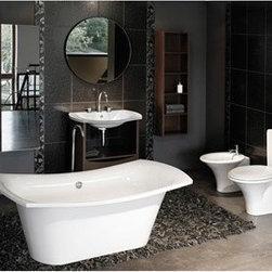 "Aquatica - Aquatica LoveMe Freestanding EcoMarmor Bathtub - As personal and private as a song, the LoveMe freestanding bathtub offers the ideal size and shape for a deeply relaxing, deeply revitalizing bath. The basin shape is rectangular with comfortably rounded corners, but the rim sweeps upward on each end like the wings of a bird in flight. Settling in for a bath is an exercise in blissful escapism. There is no single element of a bathroom that denotes style and elegance so succinctly as an Aquatica freestanding bathtub. Challenge the ordinary and soak in the luxury you deserve.Aquatica's bathtubs offer modern glamour at affordable prices. The Aquatica line is diverse enough to encompass both bathtubs with classical elegance that match the style of your bath and bathtub models that are distinctive and unique as the centerpiece of your remodel.FeaturesStriking upscale modern designFreestanding constructionSolid, one-piece construction for safety and durabilityExtra deep, full-body soakErgonomic design forms to the body's shape for ultimate comfortQuick and easy installationEcoMarmor material provides for unparalleled heat retention and durabilityHypoallergenic surfaceColor will not fade or lose its brilliance overtimePreinstalled cable drive pop up and waste-overflow fitting includedDesigned for one or two person bathingNon-porous semi-glossy surface for easy cleaning and sanitizingAdjustable height legs100% recyclable and fire-resistantChrome plated drainAvailable in white or black finishes25 Year Limited WarrantyCode compliant with American standard 1.5"" waste outletsSpecificationsOverall Dimensions: 71 in. L X 33.5 in. W X 29 in. HDepth to Overflow Drain: 14 in.Interior Depth: 19.25 in.Interior Length (Top): 63 in.Interior Width (Top): 33.75 in.Interior Length (Bottom): 46 in.Interior Width (Bottom): 17.25 in.Weight: 216 lbsCapacity: 63 GallonsShape: UniqueDrain Placement: CenterSpec SheetNote: The white model usually ships in 1-2 days. The black model usually ships in 4-6 weeks. Please allow an additional 2-3 business days for order transmittal and verification."