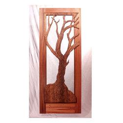 The Vista Woods Master Bedroom Door - Brian Lee Designs/MendocinoDoors.com The Vista Woods Master Bedroom Door.  The door frame is Vertical Ribbon Grain Mahogany.  The Carving is cross laminated VG Redwood.  Handcarved by Master carver  Ken Davis.