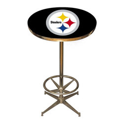 Imperial International - Pittsburgh Steelers NFL Pub Table - Check out this awesome pub table. It's perfect for your Man Cave, Game Room, Home Bar, or anywhere you want to show love for your favorite team. It has a disco style steel base with leg levelers and foot ring.