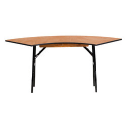 Flash Furniture - Flash Furniture 5.5 ft. x 2 ft. Serpentine Wood Folding Banquet Table - This Semi-Circular wood folding table allows you to create a serpentine, half circle or full circle table. The serpentine table allows you to create beautiful arrangements for weddings, banquets and other events. Create a serpentine table by placing two tables in alternate directions. Create a half circle or full circle by placing two or four tables together from End-to-End. When no longer needed quickly fold the legs underneath tabletop and store away until the next event. [YT-WSFT48-24-SP-GG]