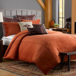 Keeco, Llc - Solid Chenille Duvet Cover in Picante - Outfit your bed with the irresistible look and feel of chenille with the Solid Chenille duvet cover. This beautifully soft and textured bedding features a simple, yet chic style that works well in any bedroom.