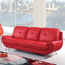 Global Furniture - 4120 Leather Sofa in Red - U4120-R6U6-S - Composed of Bonded Leather