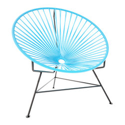 Innit Chair, Blue Weave On Black Frame - This iconic chair is perfect for outdoor living, as the woven vinyl is weather poof and easy to clean. But add it to a living room scheme, and it brings the perfect pop of personality. You can order from a rainbow of colors to contrast the black base or stick with the classic all-black design for a monochromatic look.