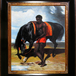 """overstockArt.com - De Dreux - African Tending a Horse by the Sea - 20"""" X 24"""" Oil Painting On Canvas Hand painted oil reproduction of a famous De Dreux painting, African Tending a Horse by the Sea . Today it has been carefully recreated detail-by-detail, color-by-color to near perfection. Alfred de Dreux, a French historical and portrait painter, was born in Paris in 1810. He was the son of the architect Pierre Anne Dedreux, and nephew of P. J. Dedreux-Dorcy. He studied under L̩on Cogniet, and painted animals as well as portraits. He died in Paris in 1860."""