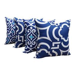 Land of Pillows - Richloom Carmody Navy and Damask Marine Navy Outdoor Throw Pillow - Set of 4, 16 - Fabric Designer - Robert Allen