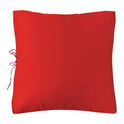 "KOKO - Eurosham, Red/Fuchsia 26x26"" - Pillows with two contrasting sides make a bold statement, and make changing the look of a bed so simple. The tiny ribbon ties adds a sweet touch no matter which color is showing."