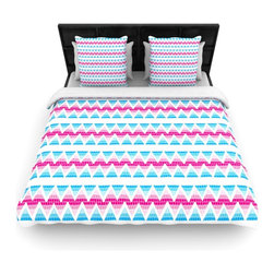 """Kess InHouse - Apple Kaur Designs """"Swimming Pool Tiles"""" Blue Pink Fleece Duvet Cover (Queen, 88 - You can curate your bedroom and turn your down comforter, UP! You're about to dream and WAKE in color with this uber stylish focal point of your bedroom with this duvet cover! Crafted at the click of your mouse, this duvet cover is not only personal and inspiring but super soft. Created out of microfiber material that is delectable, our duvets are ultra comfortable and beyond soft. Get up on the right side of the bed, or the left, this duvet cover will look good from every angle."""
