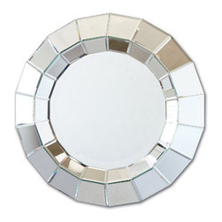 Ainsworth Round Beveled Wall Mirror by Two's Company® - Add some Hollywood Regency glam to your daily Mirror Mirror routine. The bevels will reflect light all over your room and the circular shape is unexpected.