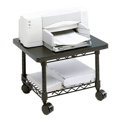 Safco - Safco Under-Desk Printer/Fax Stand in Black - Safco - Printer Stands - 5206BL - Put it under for extra space saving! The Under-Desk Printer/Fax Stand is complete with a steel frame and laminate top that provide ample space for most printers and fax machines. The stand simply slides under a desk when not in use-great for the cubicle or home office. The sturdy steel wire shelf is ideal for storing extra paper or supplies. Mobile on four swivel casters (2 locking).