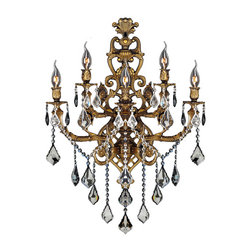 "Worldwide Lighting - Versailles 5 Light Antique Bronze Finish and Crystal Wall Sconce Light 19"" W - This stunning 5-light wall sconce only uses the best quality material and workmanship ensuring a beautiful heirloom quality piece. Featuring a radiant antique bronze finish and finely cut premium grade crystals with a lead content of 30%, this elegant wall sconce will give any room sparkle and glamour. Worldwide Lighting Corporation is a privately owned manufacturer of high quality crystal chandeliers, pendants, surface mounts, sconces and custom decorative lighting products for the residential, hospitality and commercial building markets. Our high quality crystals meet all standards of perfection, possessing lead oxide of 30% that is above industry standards and can be seen in prestigious homes, hotels, restaurants, casinos, and churches across the country. Our mission is to enhance your lighting needs with exceptional quality fixtures at a reasonable price."