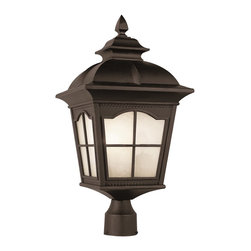 Trans Globe Lighting - Trans Globe Lighting PL-5425 BK Chesapeake Transitional Outdoor Post Lantern - Energy Efficient from the New American outdoor collection of Trans Globe. A Colonial favorite with scalloped window frames and watered glass.
