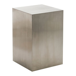 Nuevo Living - Toledo Pedestal - How to display your favorite object of beauty? On a pedestal that's equally attractive — yet not in the slightest distracting. With its brushed stainless steel finish and simple block design, this is the piece you've been searching for.