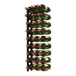 "Vinotemp EP-WIRE3B Black 27 Bottle Epic Metal Wall Mounted Wine Rack - At last--a wall-mount metal wine rack option! This 27 bottle metal rack can be fastened to almost any wall. It features sturdy metal construction and artfully displays your bottles with the labels visible for show. This unique wire rack from Epicureanist consists of two identical racks that cradle each end of the body of your bottle for a dazzling display. Rack stores bottles 3 deep.  Features: - Metal construction - Coated for protection - Stores 3 bottles per row - Wall mount installation - Capacity: 27 bottles - Dimensions: 35.75""H x 1""W x 12.75""D"