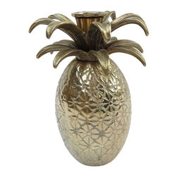 """Pre-owned Hollywood Regency Pineapple Candle Holder - A Hollywood Regency style brass pineapple candle holder. With stylized design and brass, this pineapple will be a welcome addition to your decor! The piece is constructed of solid brass, hollow but heavy. The pineapple measures approximately 5-1/4""""H and 4"""" in diameter, and would accommodate a 1"""" taper candle nicely."""