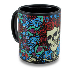 Zeckos - Grateful Dead Skeleton Roses Bertha Coffee Mug 11 Ounce - This black ceramic coffee mug features a Grateful Dead Skeleton Roses graphic that wraps around the mug. It holds 11 ounces of your favorite beverage and makes a great gift for Deadheads of all ages..