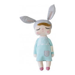 miniroom AB - Bunny Doll, Mint/Grey - Dreamy fine bunny doll sold exclusively in the US via Sunday in Color! Originally from Sweden, the doll is part of Miniroom AB own collection. Wonderful Christmas gift, baby shower or birthday gift!