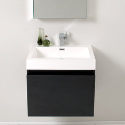 "Fresca - Fresca Nano 24"" Modern Single Sink Vanity Set w/ Medicine Cabinet - This vanity is striking in its simplicity. Don't forget to check under the hood with the innovative storage system from Blum that includes a nested drawer. Perfect for smaller bathrooms. Many faucet styles to choose from. Optional side cabinets are available."