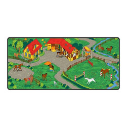 """Learning Carpets - Learning Carpets Indoor Outdoor Playmat Horse Stable - LC153 36"""" x 79"""" - Horses, ponies and foals graze in the pasture, maneuver over the jumps in the corral, gallop around the ring, then rest and refresh in the stable by the farmhouse. Ages 3 Years and Up. Unlimited Warranty. Soil And Stain Resistant Washable Carpet. Durable Latex Gel Skid-Proof Backing. 100% Nylon Carpet. Meets All ASTM F963 Safety Standards. Indoor/Outdoor Usage. Able To Withstand Rugged Wear. Highest Inflammability Rating In The Industry. Award-Winning."""