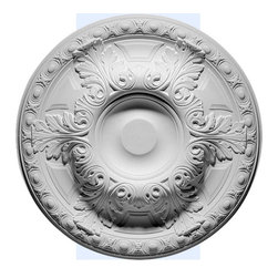 """Inviting Home - Taylor Ceiling Medallion - ceiling medallion diameter - 19"""" depth - 1-1/2"""" center diameter - 6"""" decorative medallion Taylor ceiling medallion has traditional design with acanthus leaf and egg-and-dart trim. This decorative medallion is reproduction of historical design. Taylor decorative medallion for ceiling comes factory primed and is suitable for painting glazing or faux finish. This decorative medallion for ceiling giving you look and feel of plaster while it is much easier to install than plaster or gypsum due to the weight dimensional stability precise tolerances and flexibility. - ceiling medallion manufactured from high density furniture grade polyurethane. - ceiling medallion is water and heat resistant impervious to insect infestation and odor free. - center hole on the ceiling medallion is easily drilled or cut with a pen-knife to any dimension. - for installation of ceiling medallion use specially formulated ceiling adhesive."""