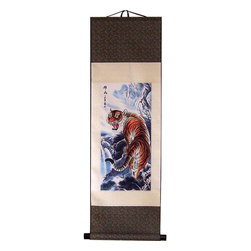 Oriental-Décor - Beautiful Tiger Scroll - Inspire yourself to rise to any challenge with this terrific tiger scroll. The majestic tiger ink print against a layered silk scroll will help you tap into your primal nature in no time. Rocky Balboa training montage music optional.