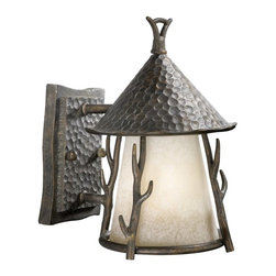 Vaxcel Lighting - Vaxcel Lighting Berkeley Woodland Traditional Outdoor Wall Sconce X-AA070DWO-DW - This Vaxcel Lighting Berkeley Woodland Traditional Outdoor Wall Sconce is a piece with rustic charm Notice the theme of tree branches in a Corinthian Patina finish, hammered back plate and hood and panels of French scavo glass. It's a wonderful light fixture that will look fantastic hanging outside most any home.
