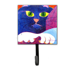 Caroline's Treasures - Big Blue Cat Leash Holder Or Key Hook - The Single Hook Leash Holder measures 4.25 inches wide by 7 inches high. The tile is made from a hardhoard and is mounted to a metal rectangle. The hook hangs down from the metal plate in the back and is about 2 1/2 inches from the base. The hook opens about 1 inch. A hanger is attached to the metal plate and is about 1 1/2 inches long. Lots of room to hang up using a screw or paneling nail. Great for the home or office to hold keys, leashes or just about anything.