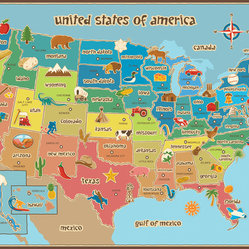 "WallPops - Kids USA Dry Erase Map Wall Decal - Educational and engaging, this dry-erase USA map is fabulous for kids decor, and great in a classroom! The clever kids map design boasts bold colors and easy-to-read state capitals, complete with fun symbols representing something special about each state!  This kids USA dry erase map is 36"" x 24"".  WallPops are repositionable and always removable."