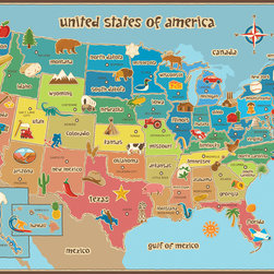 "WallPops - Kids' USA Dry-Erase Map Wall Decal - Educational and engaging, this dry-erase USA map is fabulous for kids decor, and great in a classroom! The clever kids map design boasts bold colors and easy-to-read state capitals, complete with fun symbols representing something special about each state!  This kids USA dry erase map is 36"" x 24"".  WallPops are repositionable and always removable."