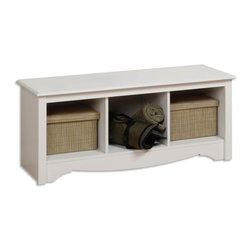 Prepac - Entryway Storage Bench w 3 Cubbies in White - This Monterey Collection bench goes at the end of your white finished platform bed and offers additional space for storage, seating, and display.  Comes with profiled top, arched kick plate, and side profiles. * Three storage compartments. Warranty: Five years. Made from CARB-compliant, MDF, laminated composite wood. Made in North America. Assembly required. Weight limit: 250 lbs.. Internal cubby: 13.75 in. W x 14 in. D x 12.5 in. H. Overall: 48 in. W x 15.75 in. D x 20 in. H. Assembly Instructions Versatile and practical, the Cubbie Bench is at home in any room. It's equally suitable for holding your baskets, books and blankets in other areas of the home, such as at the foot of a bed. With a simple style that blends with any decor, this is one bench that won't leave you on the sidelines.