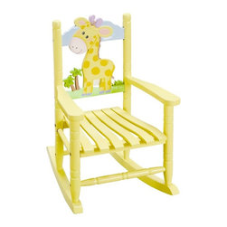 Teamson Kids - Safari Rocking Chair Giraffe - Sit in the lap of this cute baby giraffe and rock the time away with your crazy fantasies and fun times ahead with Fantasy Fields Safari Rocking Chair Giraffe. The cute and adorable dandelion yellow hued, hand painted kids rocking chair features a pretty zebra mural on the headboard. The fun and lively design of this chair is perfectly in sync with its strong and durable construction.       Exclusive handmade design painted with non-toxic material for kid's safety   Real wood construction for durability and strength   Perfect for kids bedroom, playschool or nursery   Can withstand weight up to 50 lbs.   Easy to clean and non-slip surface   Easy assembly with step-by-step instructions guide   Relevant for kids of 2+ years of age   Recommended cleaning with a dry or damp cloth