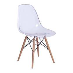 Lemoderno - Fine Mod Imports  GlossWood Dining Side Chair, Clear - The GlossWood Dining Chair is a truly comfortable chair, it has a high flexible back with good 'give' and a deep seat pocket supported by an elegant Wood/Wire Base. Transparent Acrylic    Assembly Required